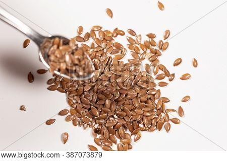 Flax Seeds, Linseed, Lin Seeds Close-up Macro