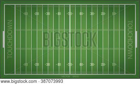 Vector Green Grass Pattern Of American Football Field. Vector Illustration.