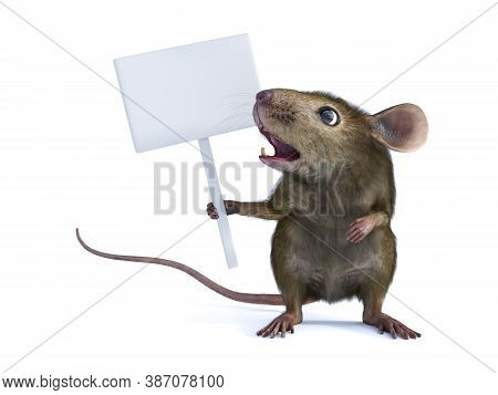 3d Rendering Of A Cute Mouse Standing Up On Two Legs And Holding A Blank Sign In Its Hand Or Paw And