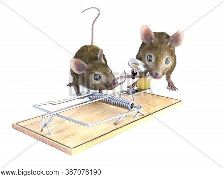 3d Rendering Of Two Cute Mice Looking At A Piece Of Cheese In A Mouse Trap. One Of Them Is Holding A