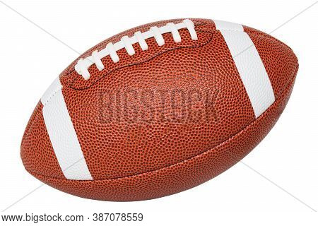 Closeup American Football Isolate On White Background, Full American Football Ball Side View