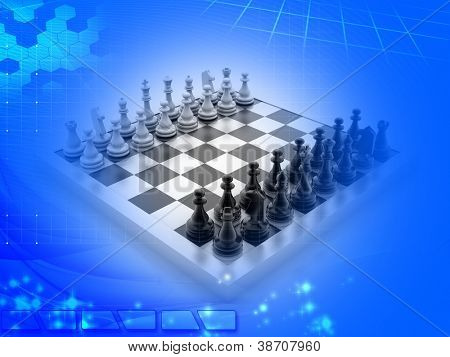 Digital illustration of chess board in colour background