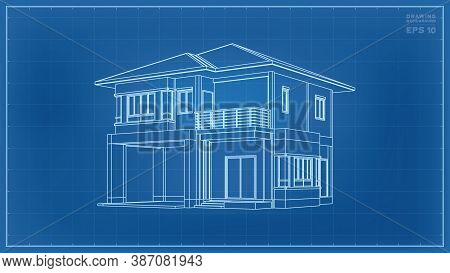 3d Perspective Wireframe Of House Exterior. Vector Illustration.