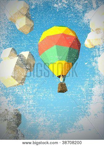 hot air balloon sky background grunge texture.