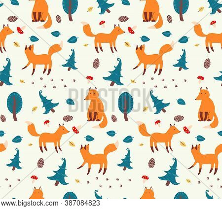 Seamless Pattern With Sly Foxes And Forest Elements