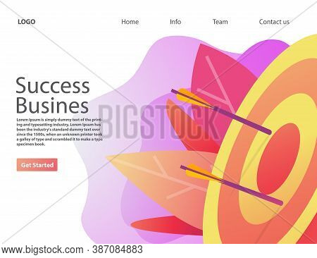 Success Business Hitting Target.goal Achievement. Vector Realistic Illustration.