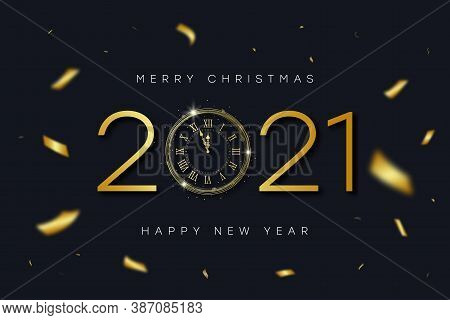 2021 New Year And Merry Christmas Banner With Gold Vintage Clock With Roman Numerals And Golden Conf