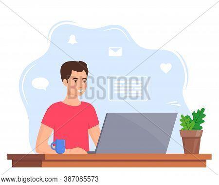 Young Man Working On Laptop At Home Office. Freelancer At Work, Remote Work. Young Man Sitting At A