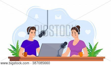 People Recording Podcast In Studio. Radio Host Interviewing Guest On Radio Station. Man And Woman In