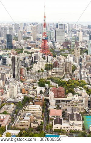 Tokyo, Japan  Apr 28, 2019 : Tokyo Tower That Locate Around With Many Building, This Tower Is The Fa