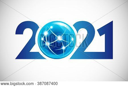 2021 A Happy New Year Congrats Concept. Modern Style Logotype. Abstract Isolated Graphic Design Temp