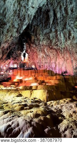Explore The Depth Inside The Stopica Cave - Limestone Formation With Stalactites, Stalagmites And Wa
