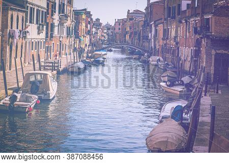 Deserted Venice In Faded Color Effect.  Museum City Is Situated Across A Group Of Islands That Are S