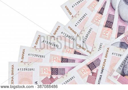20 Croatian Kuna Bills Lies In Different Order Isolated On White. Local Banking Or Money Making Conc