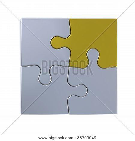 Jigsaw With Golden Piece