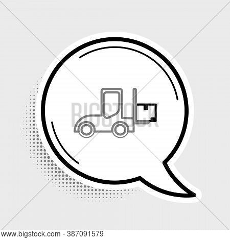 Line Forklift Truck Icon Isolated On Grey Background. Fork Loader And Cardboard Box. Cargo Delivery,