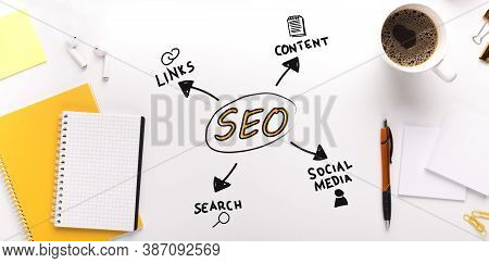 Seo-optimization Collage With Word Seo And Scheme With Words Links, Content Search And Social Media