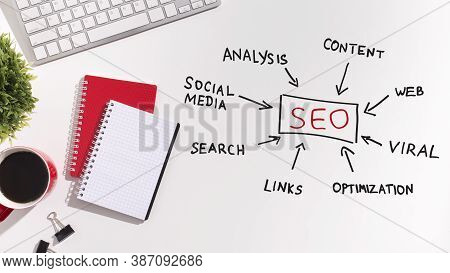 Search Engine Optimization. Seo Scheme For Websites With Words Viral, Social Media, Web Content And