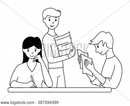 Working With Papers In The Office. Teamwork Concept. Paperwork. Cartoon Style. Vector Illustration.