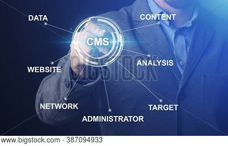 Content Management System And Website Administration Concept. Collage With It Manager Pushing Cms Bu