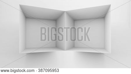 Abstract White Cgi Background With An Empty Shelf Installation. 3d Rendering Illustration