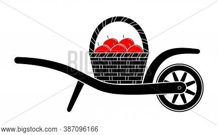 Vector Wheel Barrow And Basket Of Apples Isolated On White Background