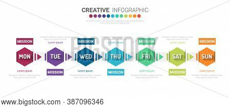 Timeline Business For 7 Day, 7 Options, Timeline Infographics Design Vector And Presentation Busines