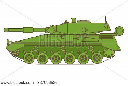 Argentinean Modern Tank. Armored Tracked Vehicle With Turrets And A Gun.