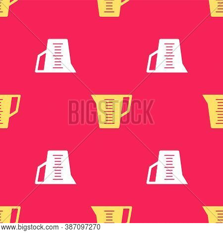 Yellow Measuring Cup To Measure Dry And Liquid Food Icon Isolated Seamless Pattern On Red Background