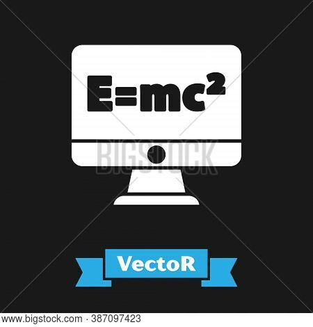 White Math System Of Equation Solution On Computer Monitor Icon Isolated On Black Background. E Equa