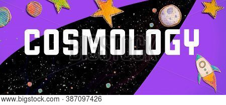 Cosmology Theme With Space Background With A Rocket, Moon, Stars And Planets