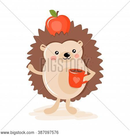Cute Hedgehog Hand Drawn Illustraion With Hot Cocoa Or Pumpkin Spice Latte Mug. Autumn Color Poster.