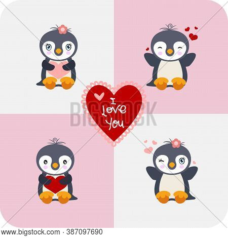 Scalable Vectorial Representing A Cute Penguins With I Love You Heart, Element For Your Design.