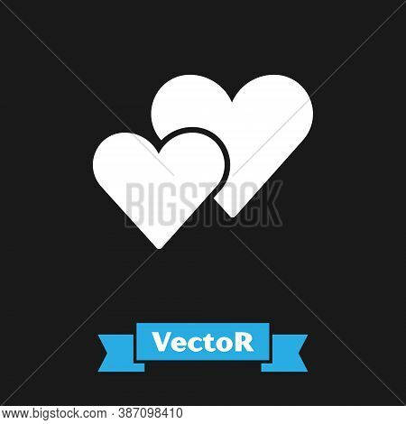 White Heart Icon Isolated On Black Background. Romantic Symbol Linked, Join, Passion And Wedding. Va