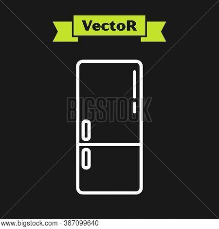 White Line Refrigerator Icon Isolated On Black Background. Fridge Freezer Refrigerator. Household Te