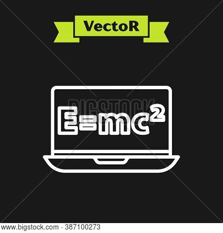 White Line Math System Of Equation Solution On Laptop Icon Isolated On Black Background. E Equals Mc