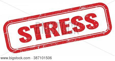 Stress Red Grungy Vintage Rectangle Stamp Sign.