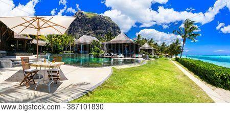 Luxury resort Lux Le Morne, Mauritius island. Lounge bar near swimming pool. november 2016