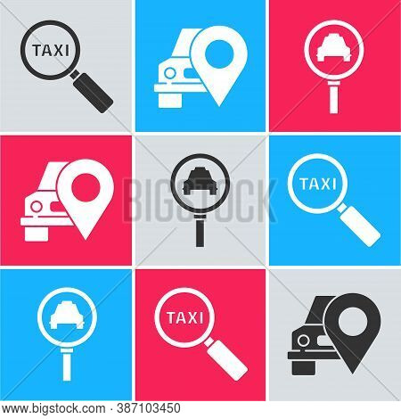 Set Magnifying Glass And Taxi Car, Map Pointer With Taxi And Magnifying Glass And Taxi Car Icon. Vec