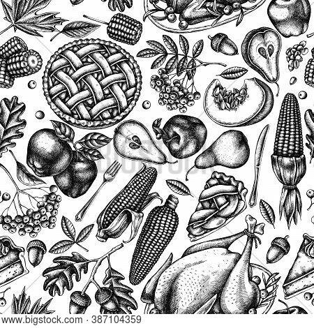 Seamless Pattern With Black And White Pumpkin, Fork, Knife, Pears, Turkey, Pumpkin Pie, Apple Pie, C