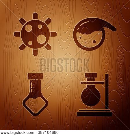 Set Test Tube Flask On Stand, Bacteria, Test Tube And Flask Chemical And Test Tube And Flask Chemica