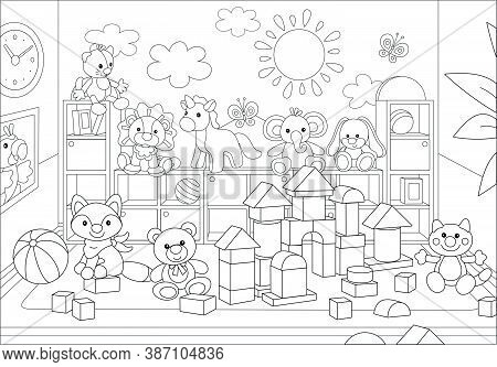 Funny Toy Animals And Bricks In A Playroom Of A Kindergarten, Black And White Vector Cartoon Illustr