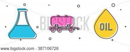 Set Oil Petrol Test Tube, Oil Railway Cistern And Oil Drop Icon. Vector
