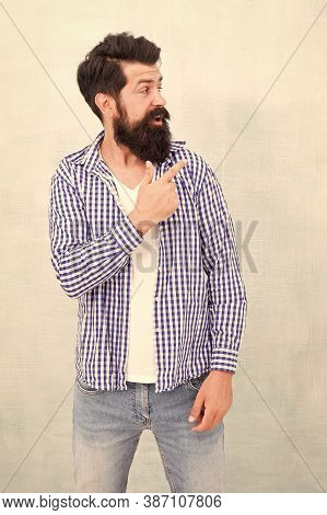 Look Over There. Male Casual Fashion Style. Barber Care For Real Men. Brutal Hipster With Mustache.