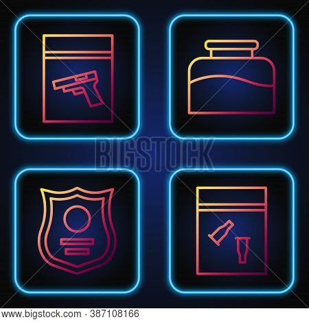 Set Line Evidence Bag And Bullet, Police Badge, Evidence Bag And Pistol Or Gun And Inkwell. Gradient