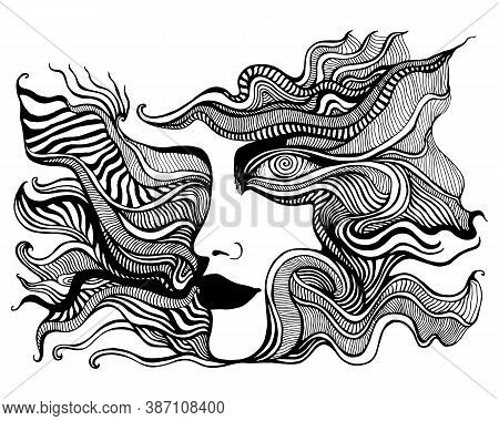 Black And White Psychedelic Face With Spiral Eye, Of Crazy Patterns Coloring Page
