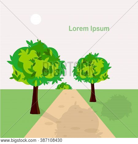 Green Tree Near Path Landscape Grey Sky Lorem Ipsum Flat Design Art Design Stock Vector Illustration