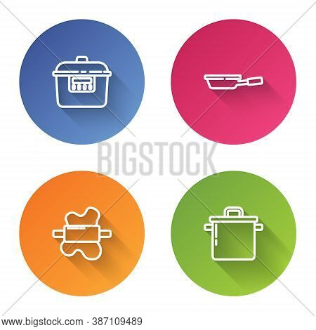 Set Line Slow Cooker, Frying Pan, Rolling Pin On Dough And Cooking Pot. Color Circle Button. Vector