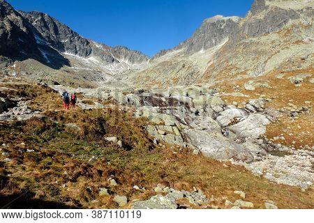 Vysoke Tatry, Slovakia - October 10, 2018: Great Cold Valley In High Tatras, Slovakia. The Great Col