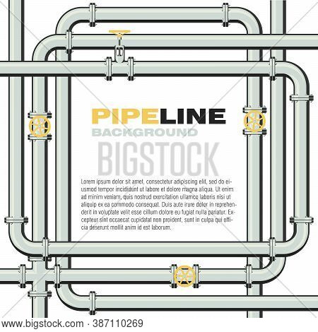 Pipeline Square Vector Background With Space For Text. Branching And Intertwining Pipes With Taps. I